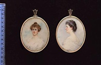the hon. mrs george keppel (née alice edmonstone), wearing white dress and pearl earrings by gertrude massey