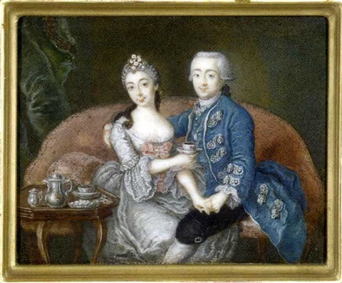 a couple seated on a red upholstered sofa the gentleman holding the ladys left hand and his right arm around her shouldersshe holding a cup and saucer by anton friedrich könig