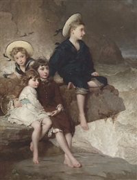 the children of sir h. hussey vivian, bt, m.p., later 1st baron swansea by george elgar hicks