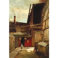 feeding the chickens, chinatown by charles albert rogers