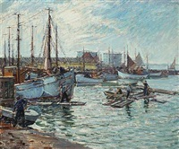 fishermen and ships in a harbour by niels holbak