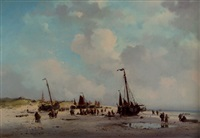 the daily catch: a beachscene in summer with fisherfolkand bomschuiten, scheveningen by adrianus david hilleveld