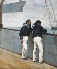 matelots au bastingage by leon-antoine-lucien couturier