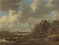 a river landscape with figures crossing the water in a ferry and others by a tavern, a village and a church beyond by jan josefsz van goyen