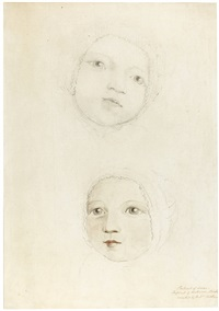 two studies of a baby's head, possibly hannah or elizabeth ann linnell by william blake