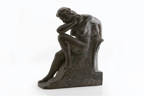 sitting female figure by aare aaltonen