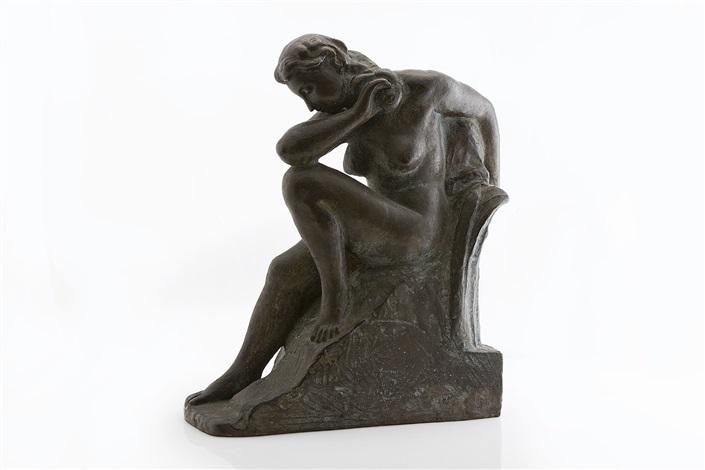sitting female figure by aare aaltonen