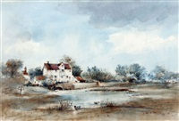 elsing mill on the wensum, norfolk by arthur edward davies