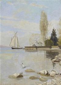 barque au large des quais de montreux by francois-louis-david bocion