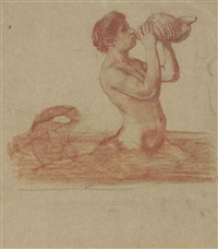 a triton blowing on a conch shell by hans thoma