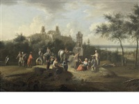 travellers watering their horses before a walled town, a river in the distance (+ travellers resting on the banks of a river; pair) by johann (jan) christian vollerdt