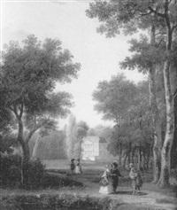 elégants et élégantes se promenant dans le parc d'un chateau by gilbert stuart newton