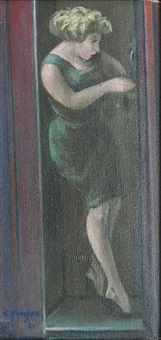girl in phone booth by clyde singer
