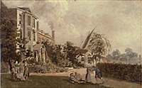 a house situated on the banks of the thames, near hammersmith, with figures in the garden by james miller