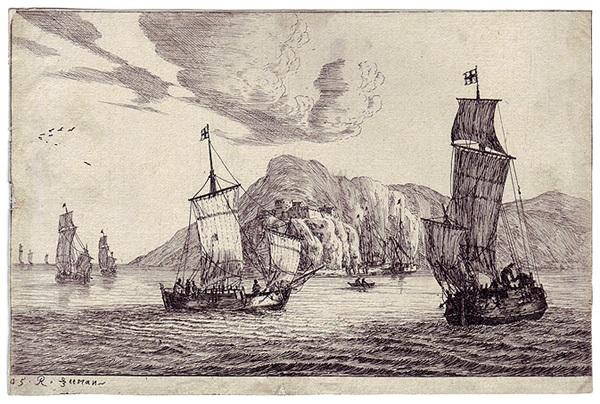 fischerboote in einer felsenbucht eine festung auf den klippen pl 5 from verschiedene seehäfen by zeeman