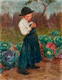 fiú a zöldségeskertben by géza peske