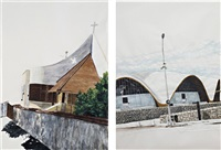 untitled (protestant temple) (+ untitled (markethalle royan); 2 works) by ina weber