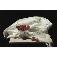 strawberries and white cloth by renato meziat