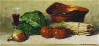 stilleben mit spargel, tomaten, zwiebel und kohl by giovanni sanvitale