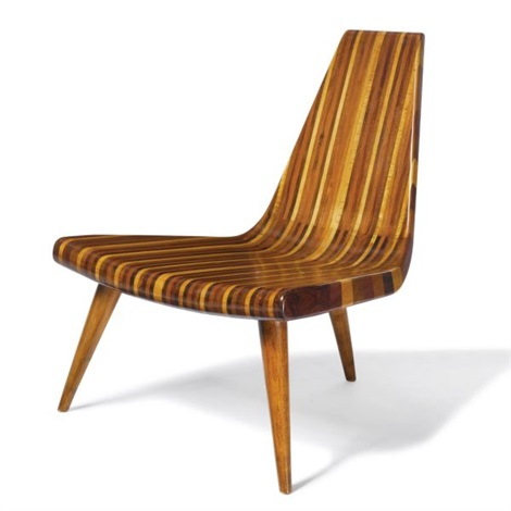 A Superb And Rare Three Legged Chair By Joaquim Tenreiro