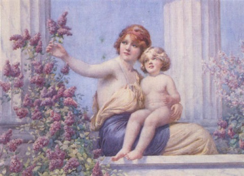 mother and child gathering lilac on a classical terrace by william f ashburner