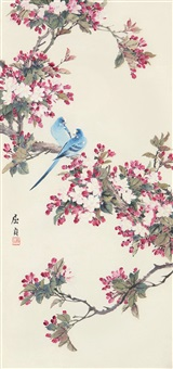 桃花鹦鹉 (peach blossoms and parrots) by qu zhen