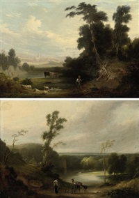 the return from market (+ a view of kirstall abbey; 2 works) by joseph rhodes