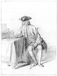 a gentleman in a tricorn hat seated at a table, examining a candlestick, a stick in his left hand by nicholaes muys