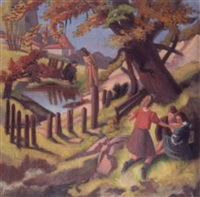 figures in a landscape by francis helps
