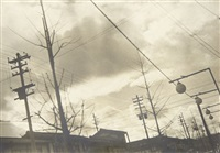 street scene with telephone poles and lights by shikanosuke yagaki