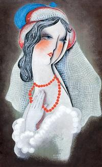 art deco beauty (lady in a hat with pearl necklace) by béla kádár