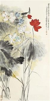 荷花 立轴 设色纸本 by he haixia