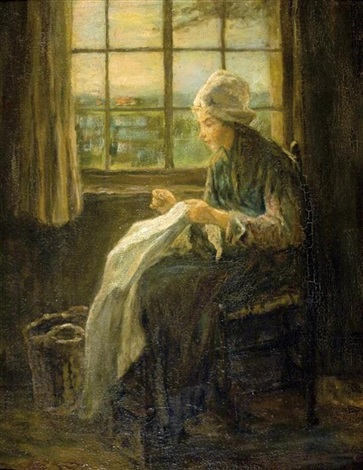 woman knitting by the window by jozef israëls