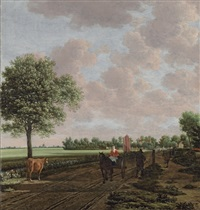 a pastoral landscape with a woman driving a horsecart and other travellers on the path, a windmill beyond by joris van der haagen