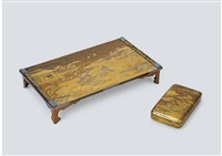 wajima lacquer reading desk, writing box depicting hatsune (set of 2) by ichigo icho