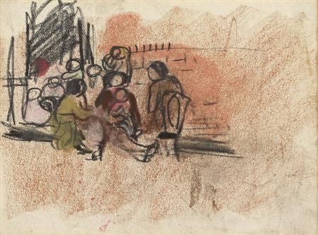 gossiping on the pavement glasgow slum by joan kathleen harding eardley
