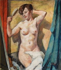 female nude with hairbrush by bernard gobiet