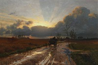 horse carriage on a rainy road, evening by ludvig kabell