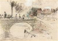 le pont corneille a rouen by camille pissarro