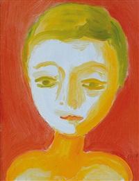 testa su fondo rosso by virgilio guidi