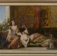 orientalist scene of women at leisure by augustus jules bouvier