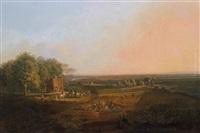 kleine coburgsche jagdgesellschaft, im vordergrund der maler an der staffelei (laut derzeitigem besitzer) by conrad bühlmayer