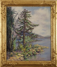 pine tree and cottage along a coast by harriette bowdoin