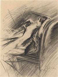 femme nue assise by giovanni boldini