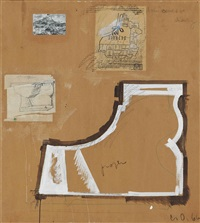 profile study of a toilet base - compared to a map of detroit and mt. sainte-victoire by cézanne by claes oldenburg