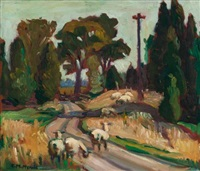 sheep and road by kathleen moir morris