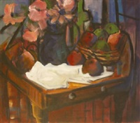still life with fruit and flowers by george dunne