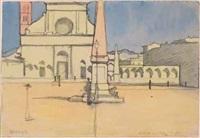 santa maria novella - primo (nel cuore del giorno) (studio per trittico la città) by llewelyn lloyd