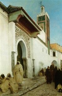 sortie de la mosquée, maroc by andré hennebicq