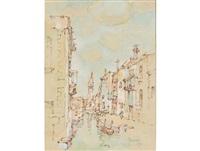 kanaal met kerktorinke, venesië by gregoire johannes boonzaier